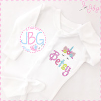 Personalised Baby Unicorn Sleepsuit, Embroidered Design, Girl clothes