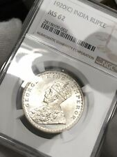BRITISH INDIA ONE RUPEE SILVER   NGC CERTIFIED MS62 1920 C