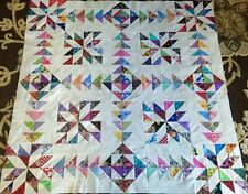 Gorgeous Scrappy CHASING GOOSE Quilt TOP Made in USA 100% Cotton