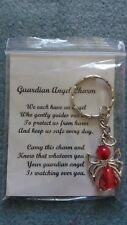 HANDCRAFTED GUARDIAN ANGEL CHARMS KEYRING BAGCHARM TEACHER GIFT RED #2