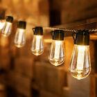Solar Powered Retro Bulbs Festoon Lights Outdoor Led Garden Fairy String Light