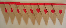 Shabby Chic Hessian, red hearts mini fabric bunting Party Decoration HOMEMADE