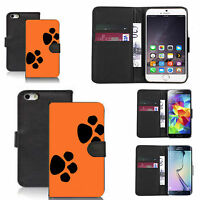 pu leather wallet case for lots of Mobile phones - orange dual paw