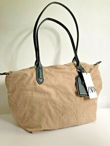 zara NYLON TOTE BAG WITH TOPSTITCHING new with tags