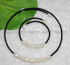 "9-10mm baroque White Pearl Necklace bracelet Jewelry Set 18""7.5"""