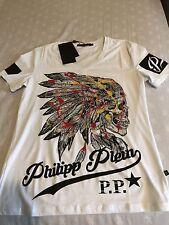 "Philipp Plein Native American Indian Skull ""FINE"" T-shirt  Size M"