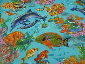 100% Cotton Fabric FQ - DOLPHINS - underwater scene