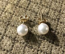 Mikimoto Blue Lagoon 7.5mm Pearl Earrings 14k Gold