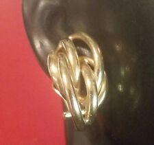 14K Gold Multi-Half Round Tubing Hoops Design Earrings Omega Backs