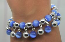 NEW  BLUE CAT EYE/ SILVER ROUND BEAD VERY CUTE  FASHION STRETCH CHARMS BRACELET