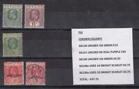Fiji KGV Collection of 5 Mint/VFU J1569