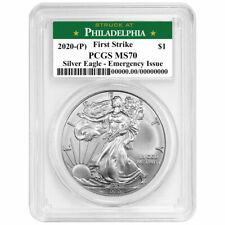 2020 (P) $1 American Silver Eagle PCGS MS70 FS Filadelfia de producción de emergencia