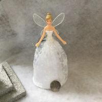 Gisela Graham Christmas Fairy Tree Topper Glitter Resin Fabric Pretty White Gold