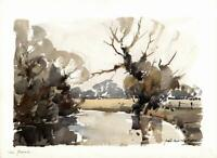 FRED MARSHALLSAY Watercolour Painting THE FROME RIVER 1973