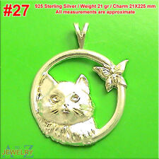 #27 Cat Kitty Pet butterfly Animal Charm Pendant Jewelry 925 Sterling Silver