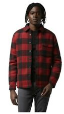 Frank And Oak Faux-Sherpa-Lined Wool Buffalo Plaid Overshirt in Red Size M