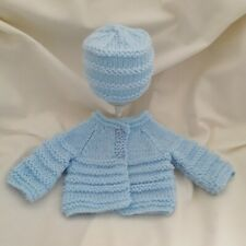 NEW Premature/ Tiny Baby Hand Knitted Cardigan And Hat Pale Blue