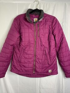Carhartt Women's Flannel Quilted Hooded Jacket Coat Size Small 4/6 Violet