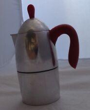 CAFFETTIERA GUZZINI CON MANICO ROSSO IN ACCIAIO CAFFE' VINTAGE EPOCA