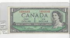 **1954 X2**Canada $1 Note, Lawson/Bouey. BC-37d ; D/I 2543162 & 61, Seq. Pair
