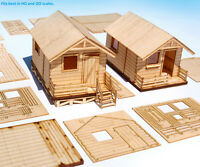 2 HO scale wooden lodge house miniature camping model kit 1:87 laser cut diorama