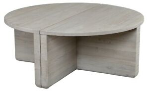 """39"""" W Costantino Coffee Table Recycled Pine Solid Wood Rustic Light Grey Finish"""