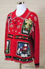 Tiara Ugly Christmas Sweater Red Sz Large Snowman Teddy Bear Trees Full Zip