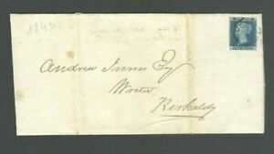 GB Great Britain 1843 Wrapper Cover Penny Blue 2d Stamp Maltese Cross QV