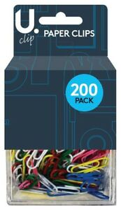 Paper Clips Box Assorted Multi-Coloured 200pcs School Office Stationery UK