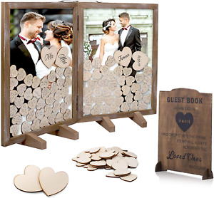 GLM Wedding Guest Book Alternative, Drop Top Wooden Frame with 160 Hearts, 4 Lar