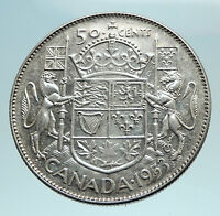 1953 CANADA under Queen Elizabeth II SILVER 50 Cents Canadian Coin Arms i79561