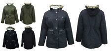 Ladies New Long Jacket Parka Fleece Lined Hood Black Navy Green Parker Coat