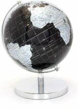27cm Black Silver World Globe On Chrome Base