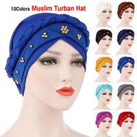 Silk Head Wrap Hair Loss Beads Braid Muslim Cancer Chemo Hat Women Turban Cap