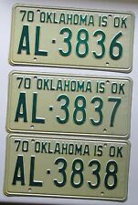 Oklahoma 1970 THREE CONSECUTIVE NUMBER License Plates HIGH QUALITY