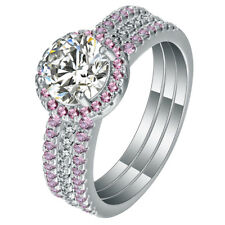 Sterling Silver .925 Pink CZ Round Halo Engagement Wedding Ring Band Set 5-10