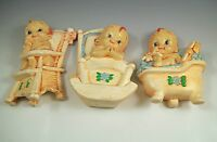 RETRO BABY NURSERY, SET OF 3 WALL PLAQUES, DECORATIONS, BABIES, SIGNED