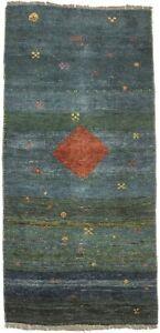 Semi Antique Handmade Blue & Green 2'6X5'4 Tribal Gabbeh Oriental Rug Carpet