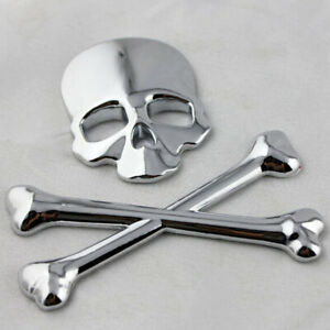 3D Metal Car SUV Truck Skull Head Bone Logo Modified Emblem Sticker Decal Top