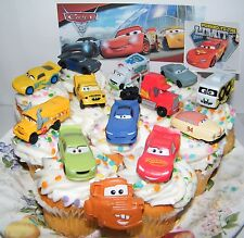 Disney Cars 3 Movie Cake Toppers Set of 14 with 12 Cars, Cars Ring and Sticker