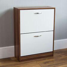 2 Drawer Shoe Cabinet Storage Cupboard Footwear Stand Rack Wooden Walnut White