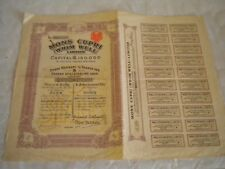 Vintage share certificate Stocks Bonds action Mons Cupri Whim Well Ltd 1911