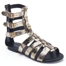 ROCK & REPUBLIC Lunar Women's Gold Black Gladiator Sandals Zipper Back Sz 6.5