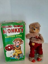 1950's Alps Japan Battery Operated Balloon Blowing Bear Boxed Works