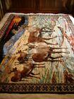 """Vintage, Italian, 70"""" x 50"""" Six Deers-Reindeers Tapestry"""