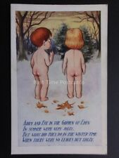 """Comic Postcard Adam & Eve Theme """"WHAT DID THEY DO IN THE WINTER WITH NO LEAVES?"""""""