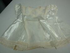 Vintage 1940s Ivory Satin Baby Dress with Lace Edge & Attached Under Slip