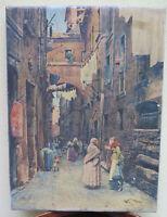 Tableau Vintage Peel Offs -noël Sur Tela Vue de Un Vieux Borgo VB2