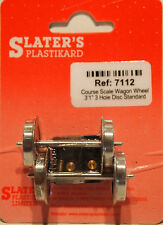 "Slaters 7112 1 x Pair Course 3'1"" 3 Hole Wagon Wheels & Brass Bearings 0 Gauge T"