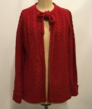 Vintage De Mura Womens Sweater Cardigan Chunky with Bow Tie NEW